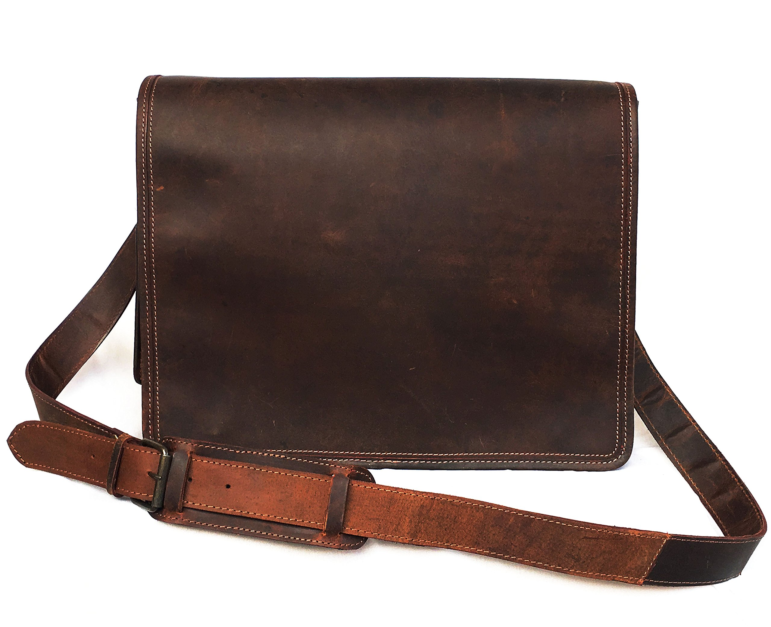 16 Inch Leather Vintage Rustic Crossbody Messenger Courier Satchel Bag Gift Men Women ~ Business Work Briefcase Carry Laptop Computer Book Handmade Rugged & Distressed By KK's Leather by kk's leather (Image #4)