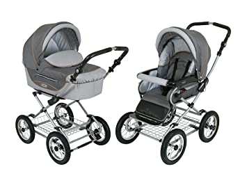 Baby Stroller for Newborn, Infant and Toddler Roan Kortina 2-in-1 Pram with Bassinet, separate Reclining Seat, Air-Inflated Wheels with Five Points ...