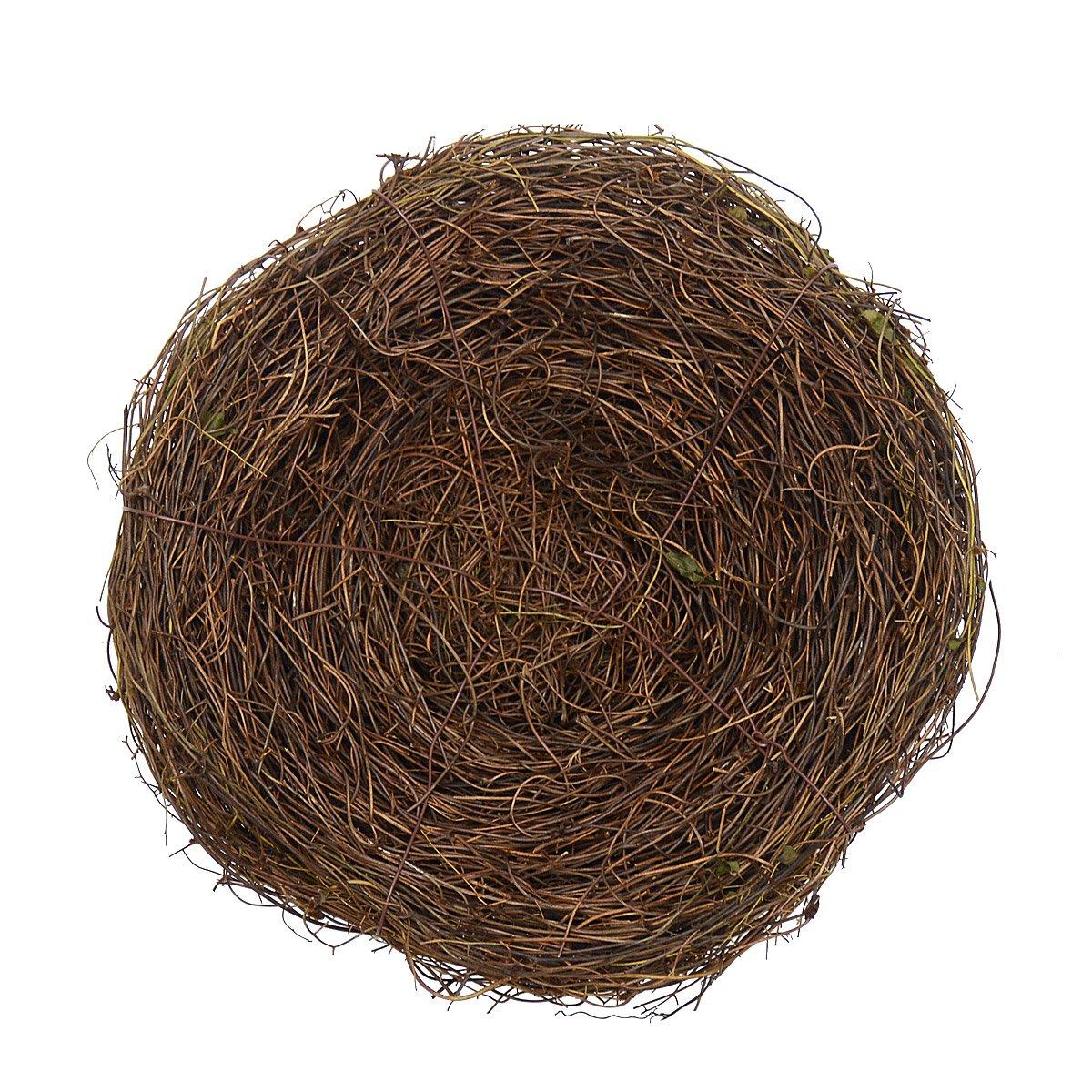 2Pcs 8'' Natural Rattan Birds Nest Spring Decoration Props Garden Yard Home