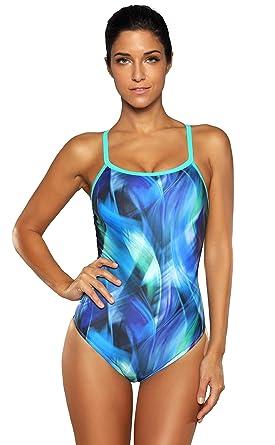 61022b14c31 ATTRACO Athletic One Piece Swimsuit Women Training Sport Pro Swimwear Green  S