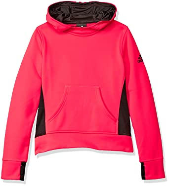 adidas Big Girls' Tech Fleece Hoodie, Shock Red/Black, Large/14