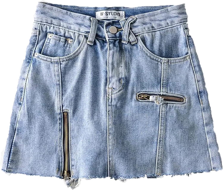 XIGUAUK Minifalda de Mezclilla para Mujer, Elegante, con Cremallera, Resistente al Encogimiento, Abertura Lateral, Falda Corta, Falda de Cintura Alta para Fiesta, línea A
