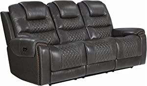 Coaster Home Furnishings North Cushion Back Reclining Seat and Power Headrest Grey Sofas