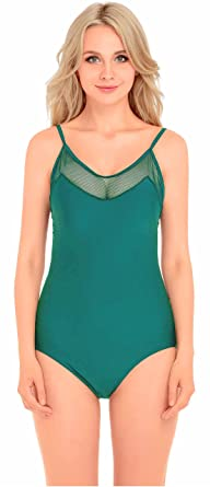 de19cf53b0f2c v28 Padded One Piece Mesh Panel Swimsuit Swimwear Monokini at Amazon ...
