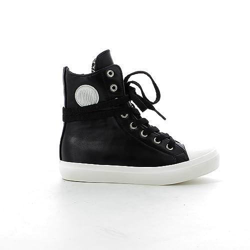 Scarpe moda alte FIORUCCI sneakers bambina con logo in vista keic012 (24, NERO)