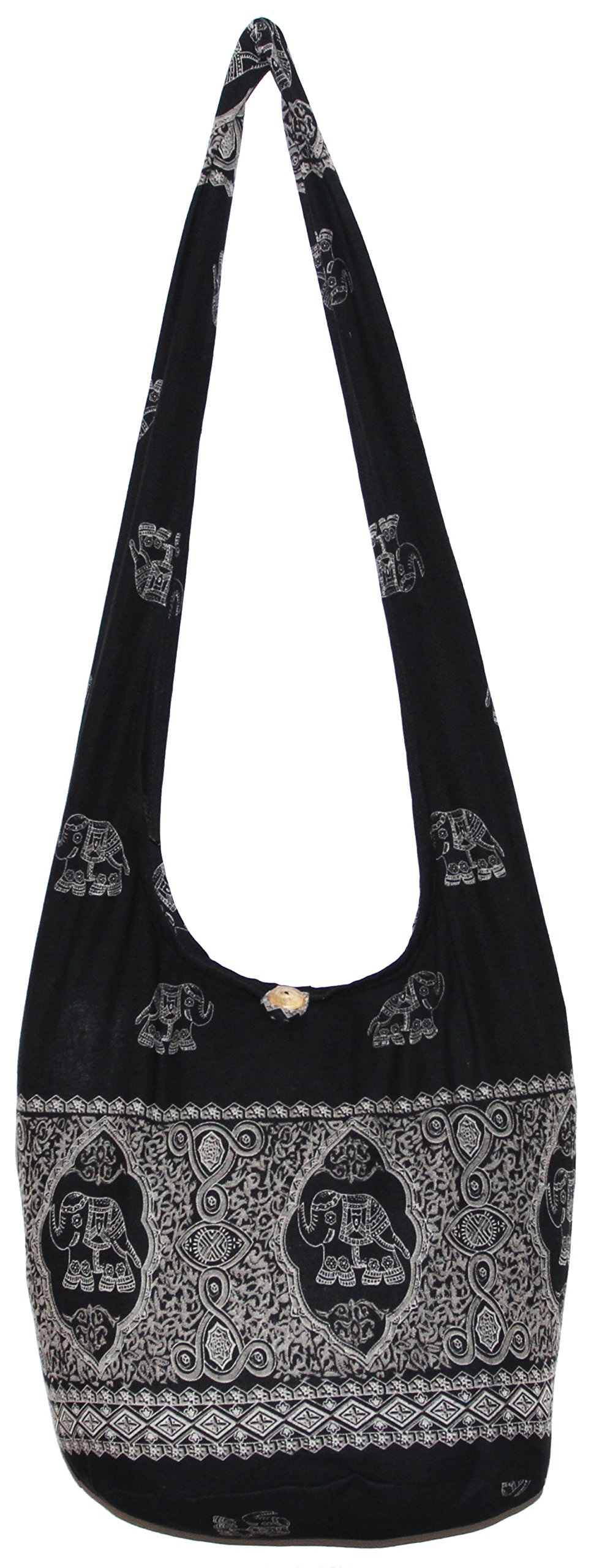 Elephant Royal Bohemian Hipster Hobo Boho Hippie Crossbody Bag (Black) by All Best Thing (Image #1)