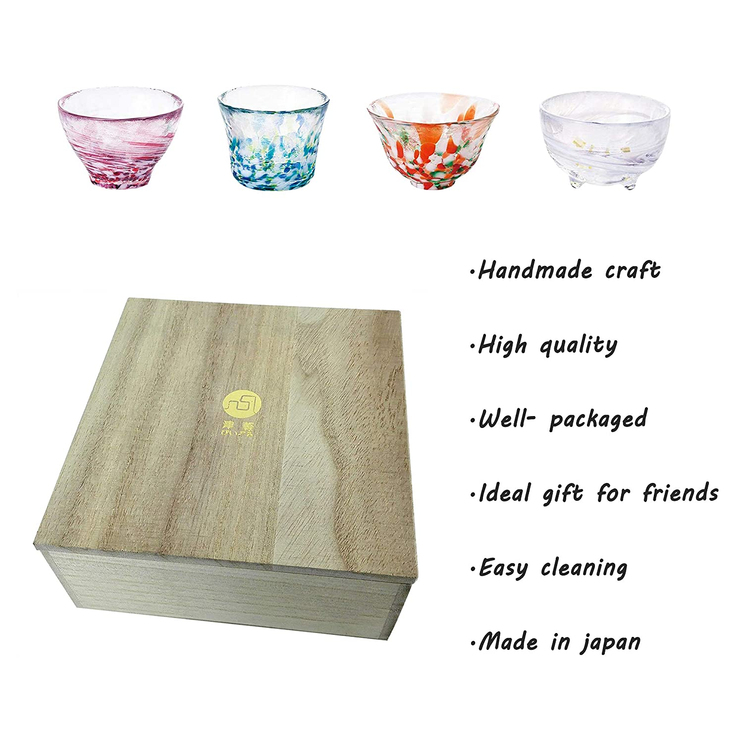 Spring//Summer//Autumn//Winter Cold Sake Glasses Cups Set Traditional Japanese Sake Liquor Glass Collection Drinkware Glasses Handcraft Rainbow Color Teacups Set of 4 with Wood Gift Box 2.87ounce