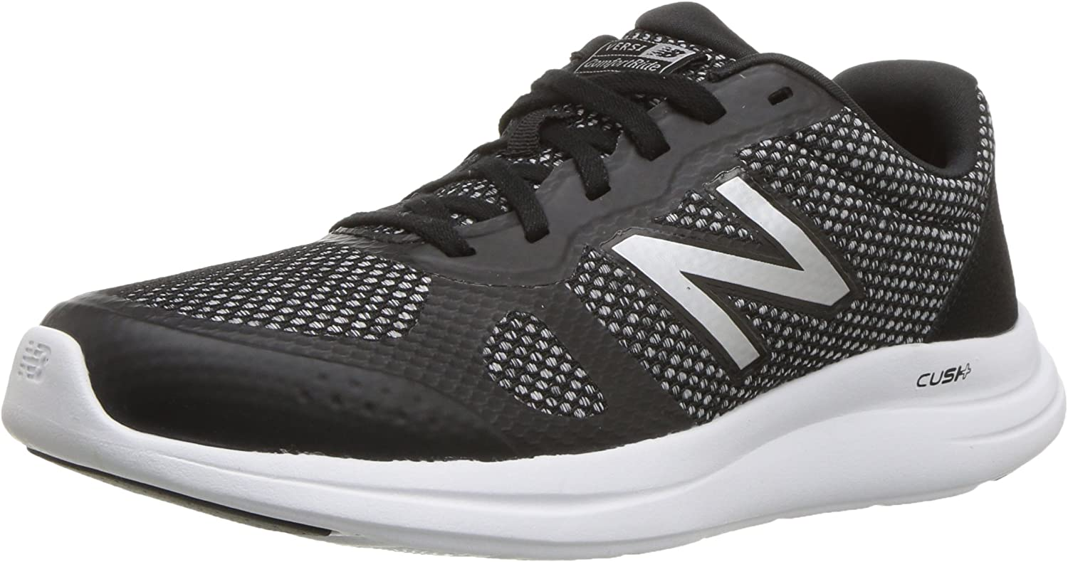 New Balance Women s Versi v1 Cushioning Running Shoe, Black Silver, 10.5 D US