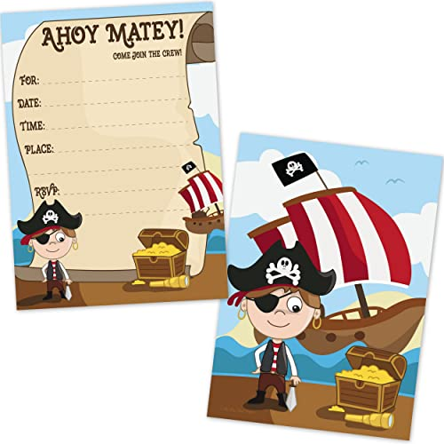 Pirate Birthday Party Invitations for Boys (20 Count with Envelopes)