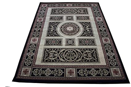 Amazon Com Gold Man Spotlight Black 8x10 Persian Rug Oriental Rugs