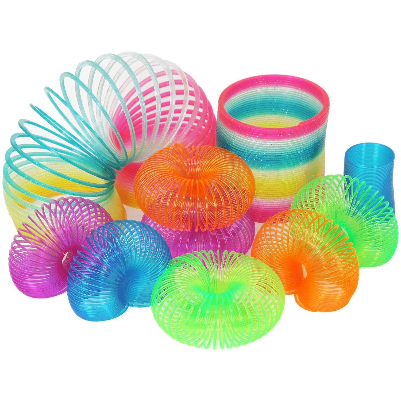 com-four 3X Springspirale, regenbogenfarbene Treppenspirale, Treppenläufer-Feder mit Glitzer (03 Stück - mit Glitzer)