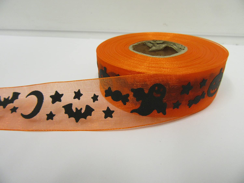 Beautiful Ribbon 2 m/ètres x 25 mm Orange avec des fant/ômes Noirs Chauves-Souris Citrouilles Ruban dorganza Sheer Halloween 25 mm