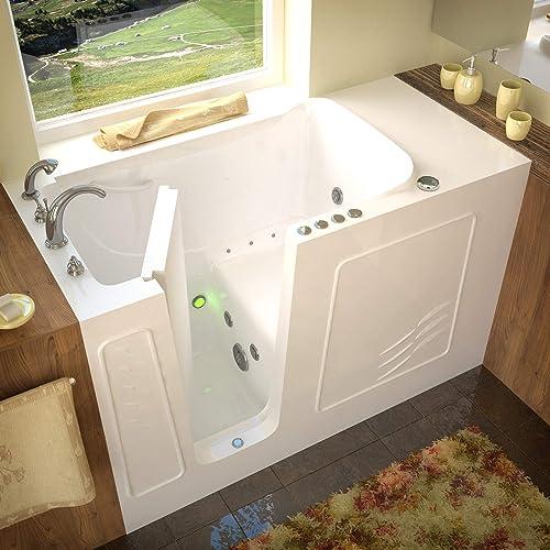 Meditub 3060WILWD 30×60 Left Drain White Whirlpool Air Jetted Walk-In Bathtub