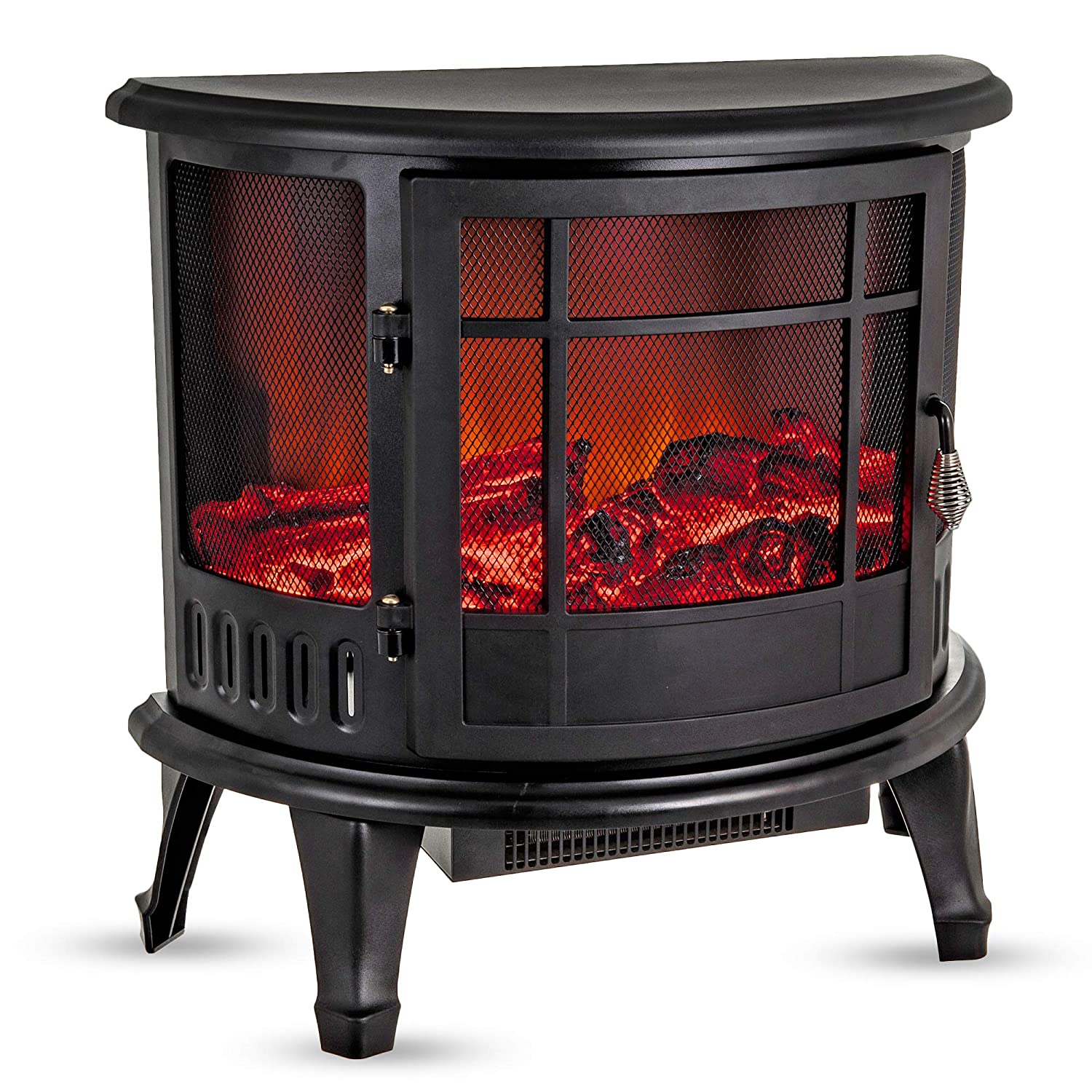 Fineway Electric Stove Heater with Log Burner Flame Effect Fire – 1800W, Black – Freestanding Fireplace with Wood Burning LED Light – Adjustable Temperature & Flame Panoramic Design With Large Window Fineway.