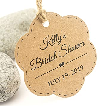 summer ray 50pcs personalized brown kraft scallop bridal shower thank you tags from my shower