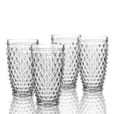 Elle Decor 229804-4HB Bistro Dot 4 Pc Set Highball, Clear-Glass Elegant Barware and Drinkware, Dishwasher Safe, 13.5 oz,