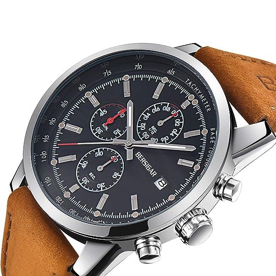 Reloj para Hombre Cuarzo cronógrafo Impermeable Relojes Business Casual Deporte Banda Correa de Piel Reloj de Pulsera: Amazon.es: Relojes
