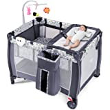 HONEY JOY Portable Baby Playard, 3-in-1 Pack and Play with Infant Bassinet, Diaper Changer & Toy Bar, Lockable Wheels, Toddle