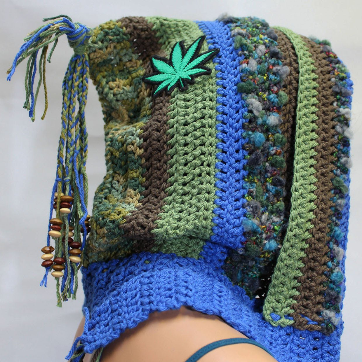 Amazon Crochet Festival Hood With Leaf Embroidered Patches