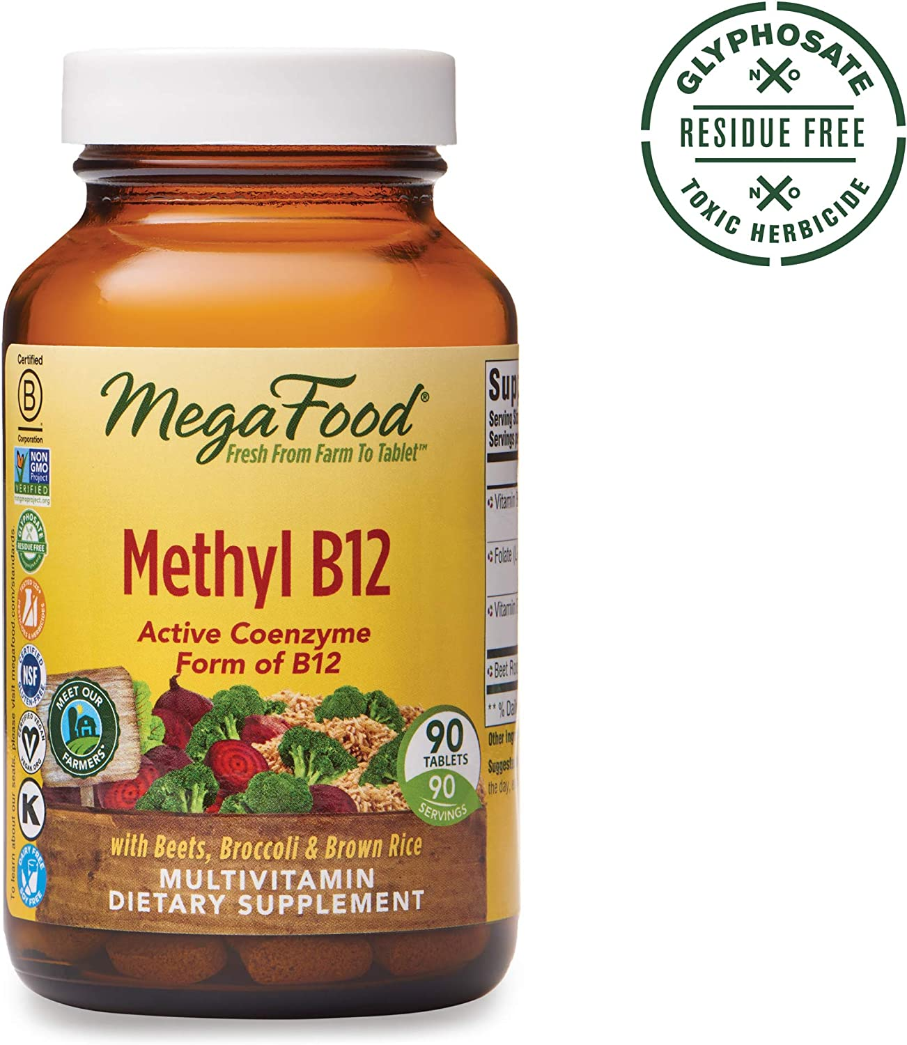MegaFood, Methyl B12, Helps Maintain a Healthy Heart and Homocysteine Levels, Multivitamin Supplement, Gluten Free, Vegan, 90 Tablets 90 Servings