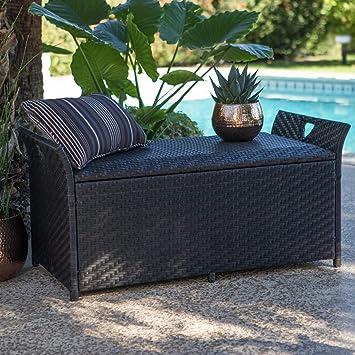 Dark Brown Resin Wicker Deck Storage Box Patio Storage Bench Seating Pool  Storage