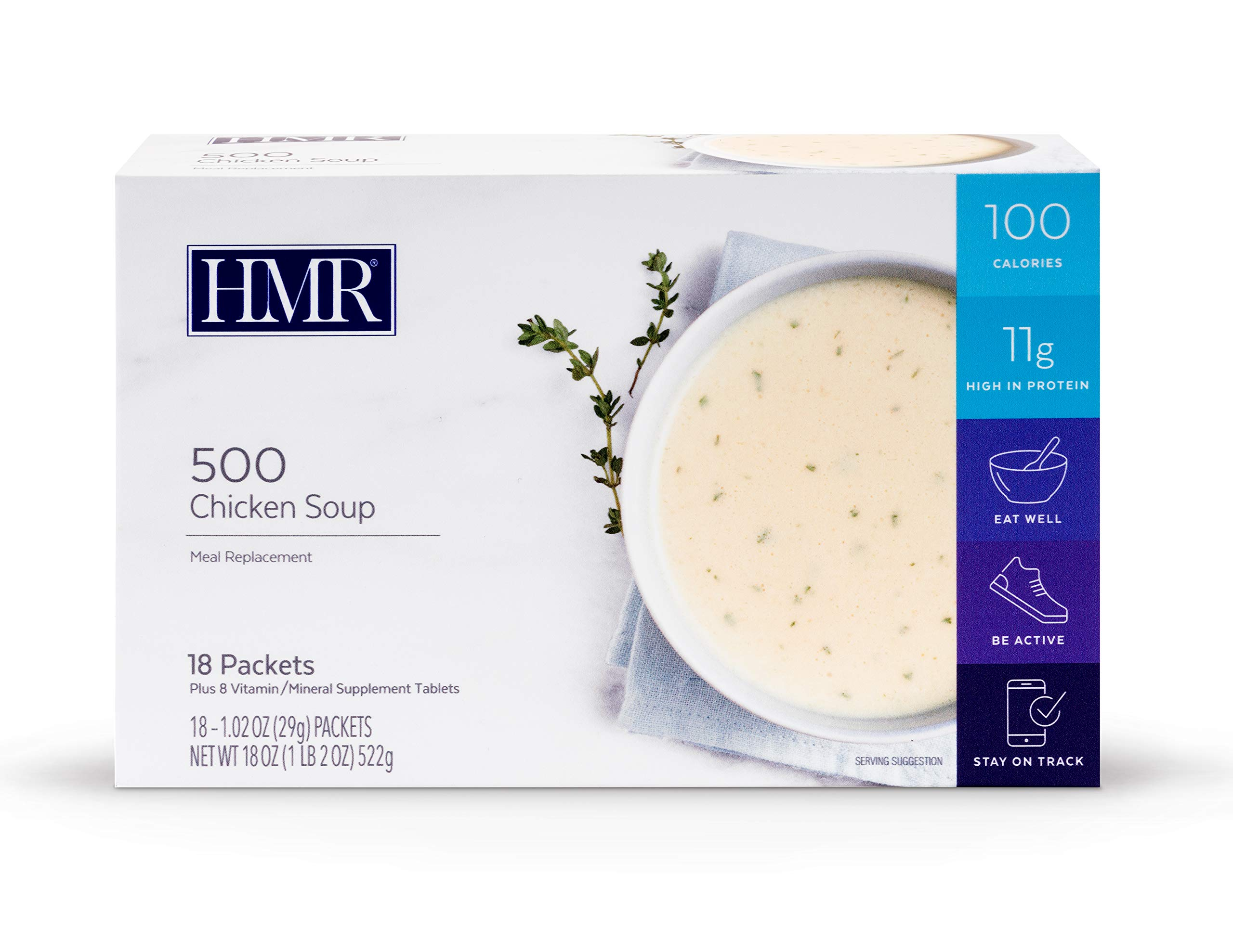 HMR 500 Chicken Soup, Meal Replacement, 100 Calories, Box of 18 Servings by HMR