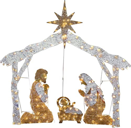 National Tree Company Company lit Artificial Christmas D cor Includes Pre-Strung Mini White LED Lights and Ground Stakes Crystal Holy Family Nativity-4.5 ft