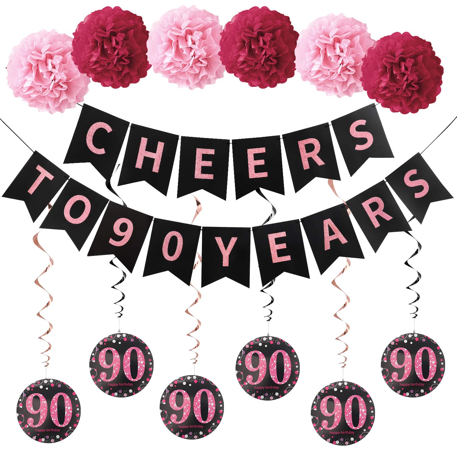 90 years old 90th birthday decor Cheers to 90 years cheers to 90 90th anniversary 90th decorations happy 90th birthday happy 90th