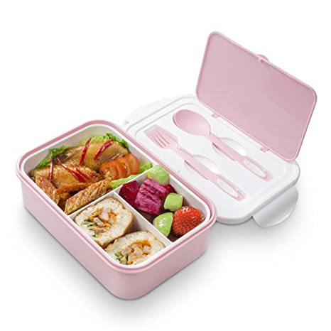 460bd5911c96 Bento Lunch Box – 3 Tier Box Containers – Microwave/Freezer Meal Box For  Adults & Kids(Pink)