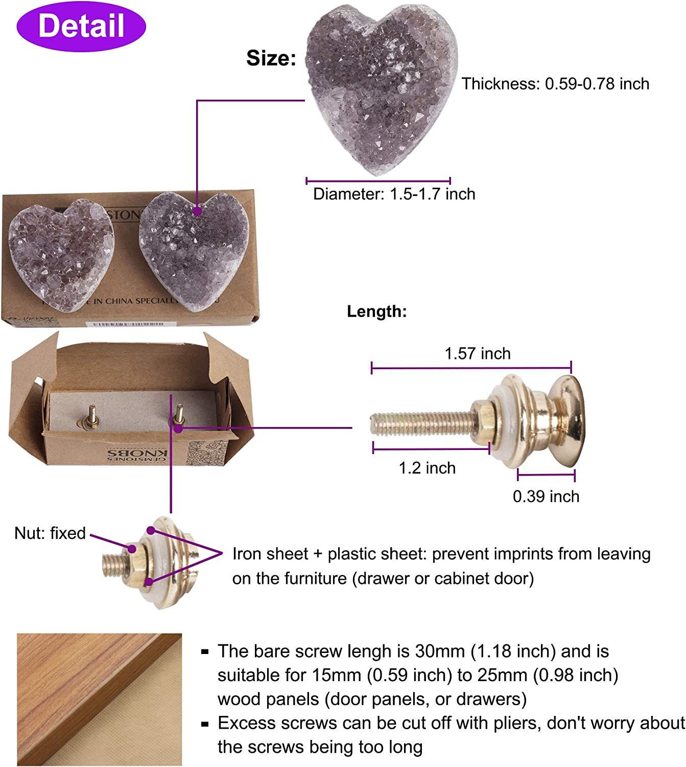 AMOYSTONE 2pcs Amethyst Drawer Knobs Pulls Handle Purple for Decorative Dressers Drawer Kitchen Cabinet Door 1.5