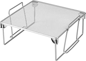 YBM HOME Stainless Steel Stackable Mesh Shelf (Silver) - Multipurpose Storage Rack for Kitchen/Bathroom/Office – Durable, Wire Pantry Organizer – Foldable Space Saving Design 2255 (1, Small)