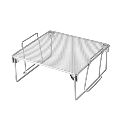 Ybm Home Stainless Steel Stackable Mesh Shelf Silver Multipurpose Storage Rack For Kitchen Bathroom Office Durable Wire Pantry Organizer