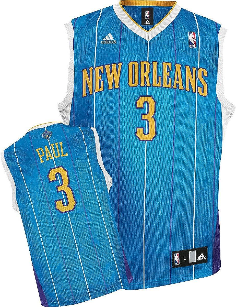 Amazon.com : Adidas New Orleans Hornets Chris Paul Replica Road ...