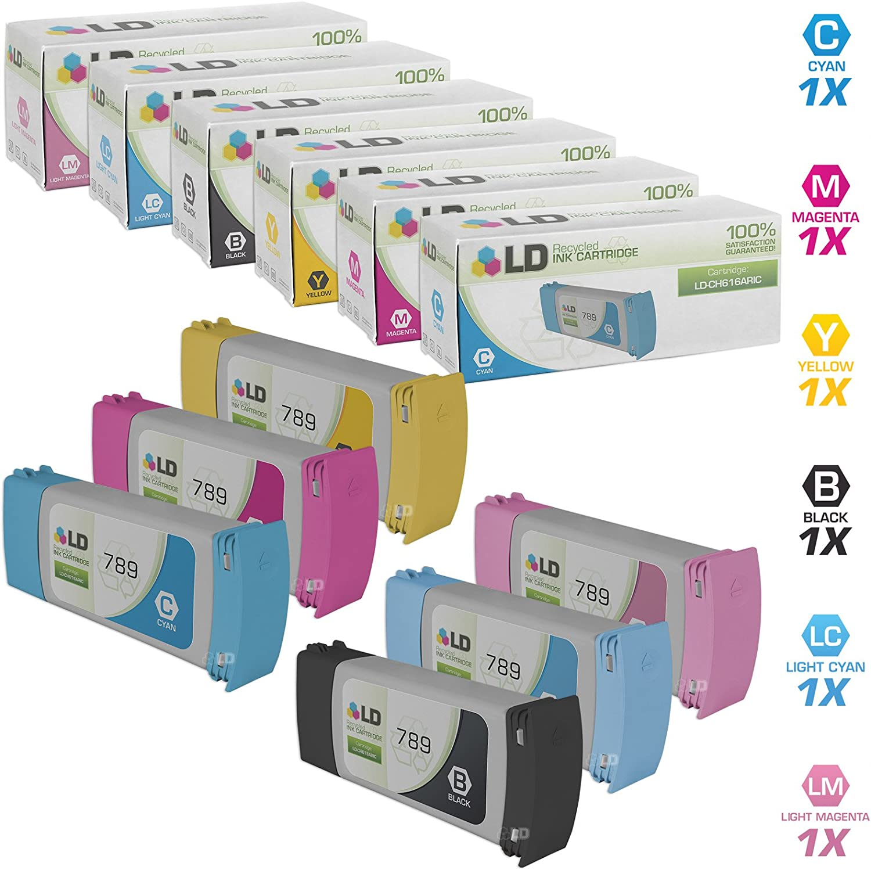 LD Remanufactured Ink Cartridge Replacement for HP 789 (Black, Cyan, Magenta, Yellow, Light Cyan, Light Magenta, 6-Pack)