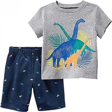 Counjunto de Ropa Bebé Niño Verano Estampado de Dinosaurio Camisa de Manga Corta + Pantalones Cortos a Rayas elásticos para Bebés Niños 2-8 años: Amazon.es: Ropa y accesorios