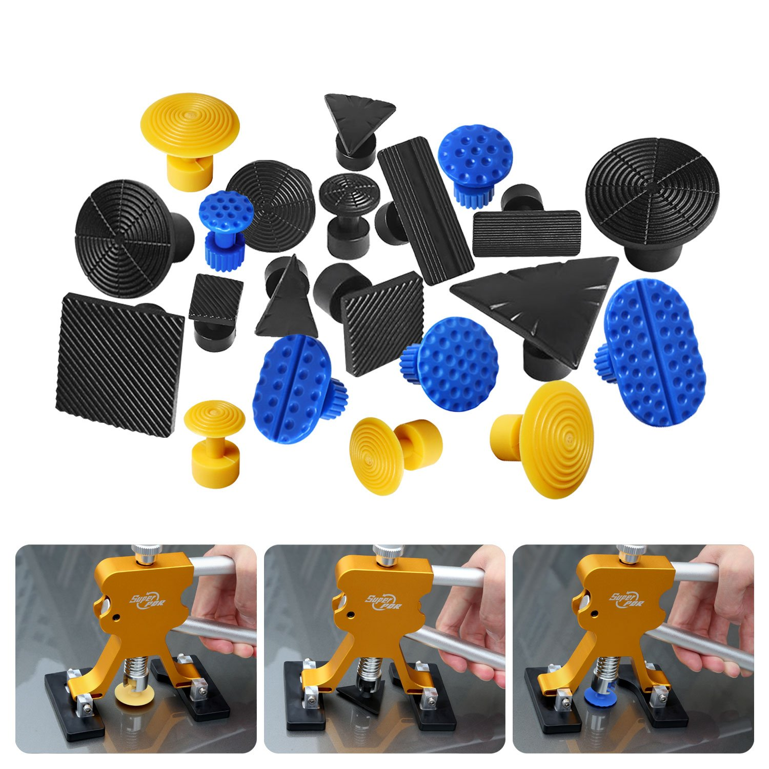 AUTOPDR 41Pcs DIY Automobile Car Body Paintless Dent Repair Removal Remover Tools Kits Lifter Puller Tabs Dent Bridge Puller Sets with Hot Glue Gun Stick Hail Slide Hammer by AUTOPDR (Image #9)
