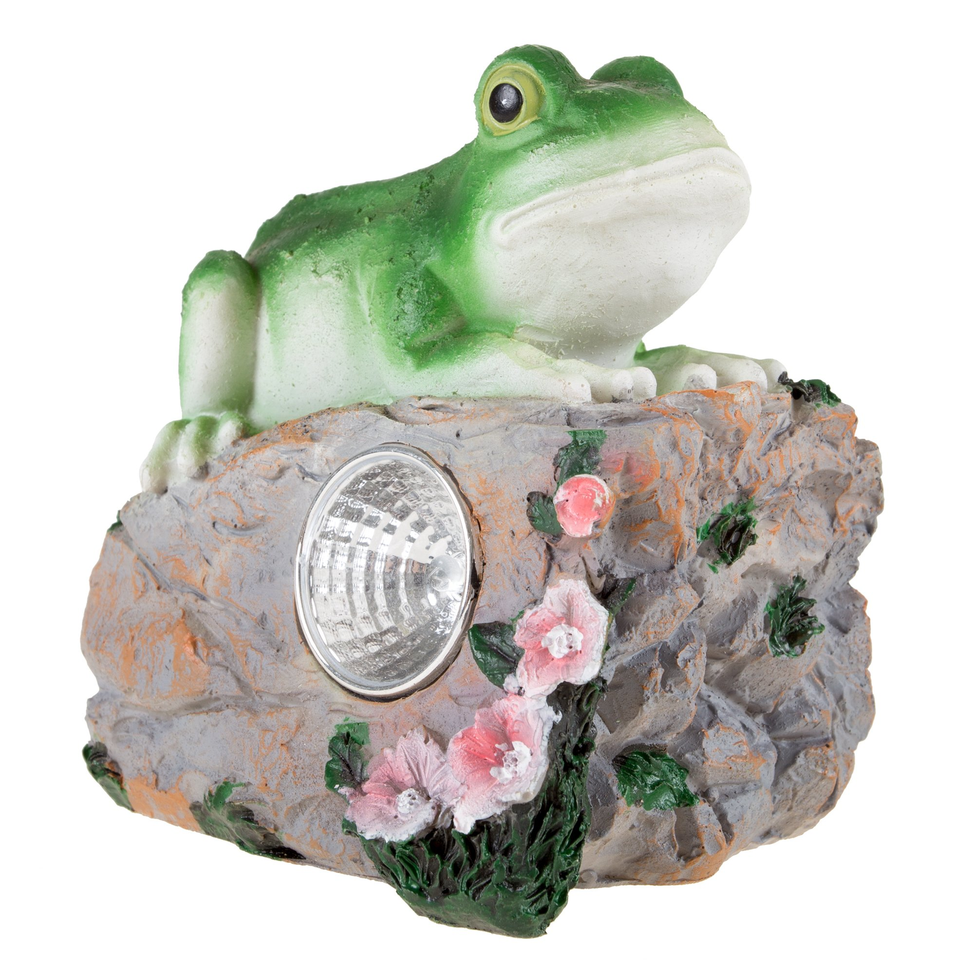Yard Décor, Solar Outdoor LED Light and Battery Operated Statue for Garden, Patio, Lawn, and Yard by Pure Garden - Frog Statue