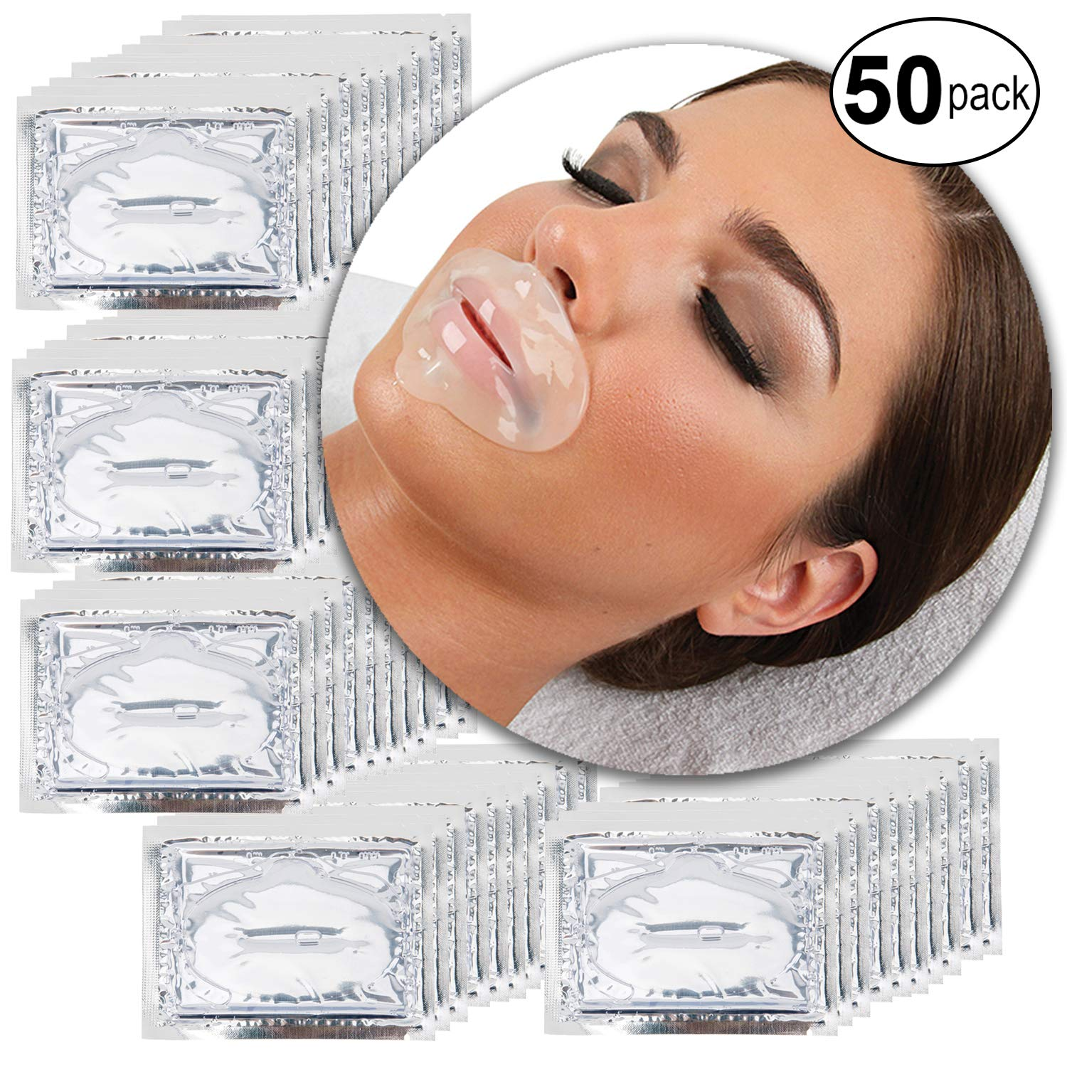 Anti Aging Treatments Set Kit of 50pcs Lips Mouth Clear Transparent Collagen Gel Crystal Masks Patches Sheets for Fine Lines and Wrinkles Removal, Moisturizing Hydration, Skin Firming and Nourishing VAGA