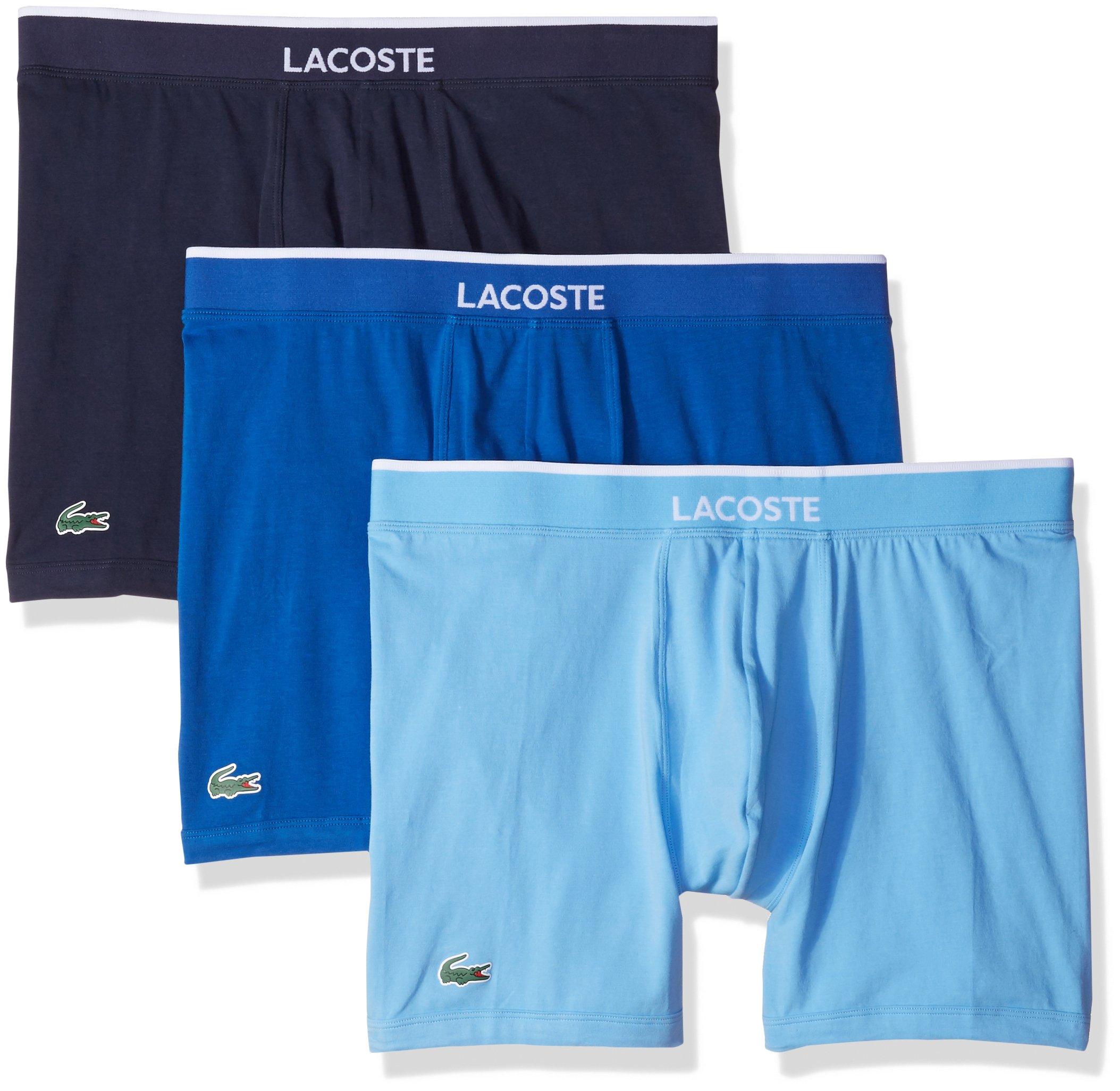 d65c6e28b6aa Galleon - Lacoste Men's 3 Pack Cotton Stretch Boxer Brief, Light Blue/Navy,  Medium