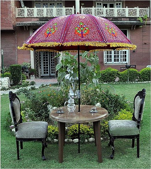 Marusthali Sombrilla de jardín Indio Sombrilla Sombrilla Patio Tela de algodón Decorativo Sombrilla al Aire Libre: Amazon.es: Jardín