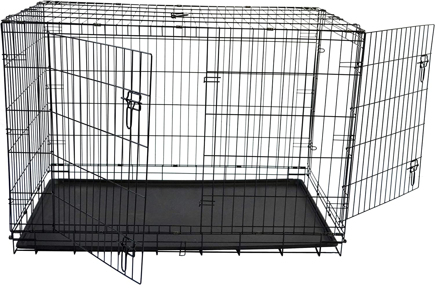 Merax Double Door Folding Metal Dog Crate Pet Cage Kennel with ABS Tray 36 W X 24 L X 26 H Black