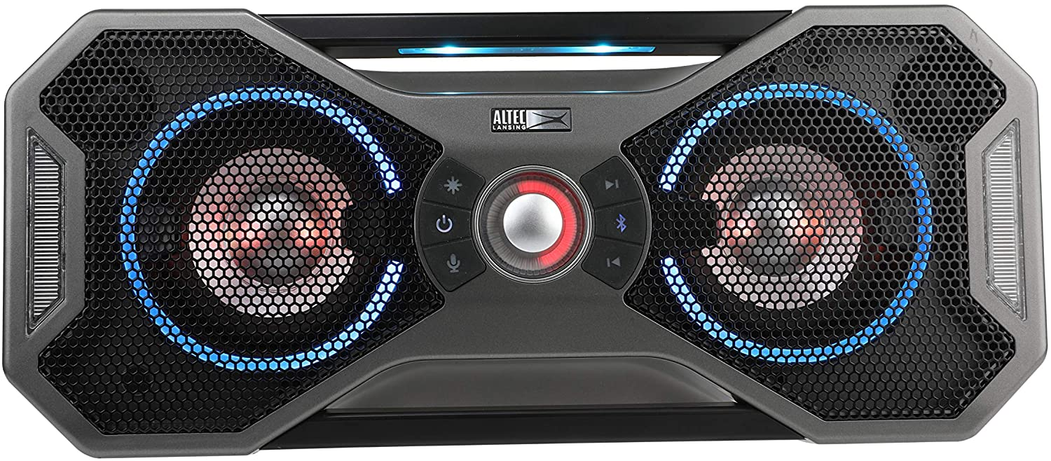 Altec Lansing Mix 2.0 - Bluetooth Speaker, Wireless, Waterproof, Floatable, Portable, Speakers, Loud Volume, Strong Bass, Rich Stereo System, 100 ft Wireless Range, IP67, Steel Gray with Lights