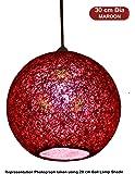 Salebrations 30 cm Dia Maroon Hanging Ball Lamp Shade with Yarn and Led Bulb