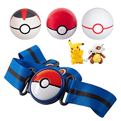 PoKéMoN Clip 'N' Go Belt Set with 3 Poké Balls & 2 Figures - Includes Pikachu and Cubone Figure - Holds Up to 6 Pokeballs - Ages 4 +: Toys & Games