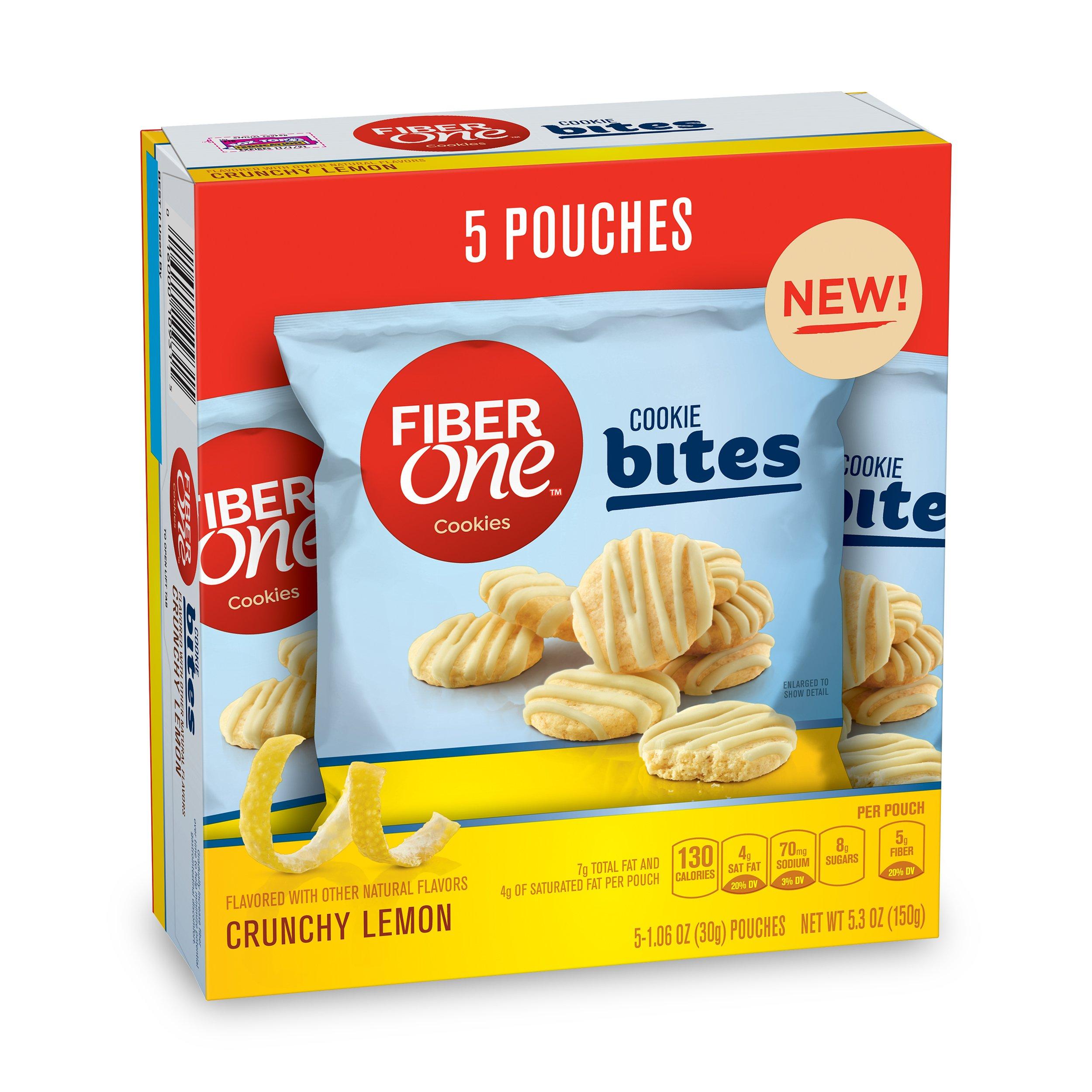 Fiber One Crunchy Lemon Cookie Bites, 5 Count (Pack of 8)