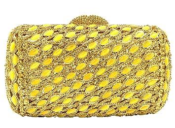 Bolso Mujer Noche Bolsas Fiesta Boda Carteras Brillo Mano Diamantes Cadena Embrague Mini almohada Dorado: Amazon.es: Equipaje