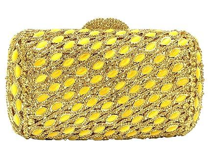 Bolso Mujer Noche Bolsas Fiesta Boda Carteras Brillo Mano Diamantes Cadena Embrague Mini almohada Dorado