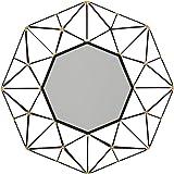 Amazon Brand – Rivet Modern Octagonal Metalwork Hanging Geometric Wall Mirror, 28 Inch Height, Black Finish