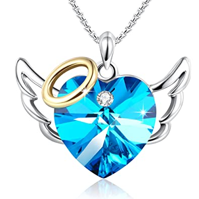 Birthday Giftsu0026quot;Love Angel U0026quot;Blue Heart Pendant Necklace Valentine  Wedding Anniversary Jewelry For
