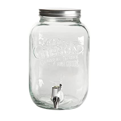 Amazon.com | Gibson Home 102344.02RM General Store 1 gallon Mason Beverage Dispenser Square Glass, Clear: Iced Beverage Dispensers